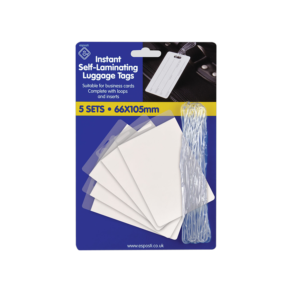 AO01 Self Laminating Luggage Tags Pack 5's Image